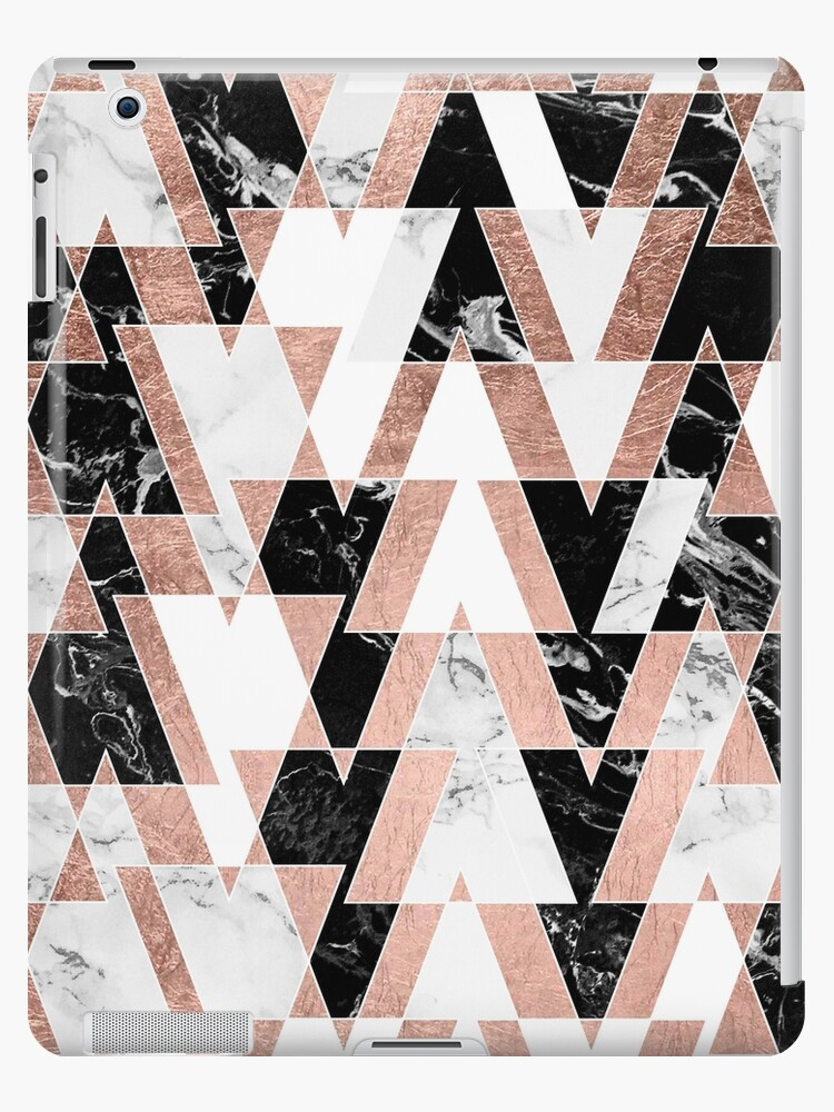 Modern Geometric Triangles Rose Gold Black White Abstract Marble Pattern Ipad Case Skin By Girlytrend