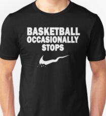 Basketball Occasionally Stops - Nike Parody (White) T-Shirt