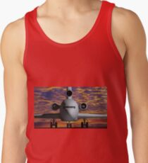 Airplane - Front view at sunset Tank Top