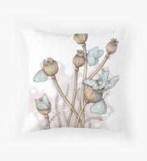 Poppy pods and butterflies Throw Pillow