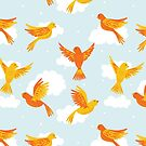 Pattern of Yellow and Orange Birds on a Blue Sky by latheandquill
