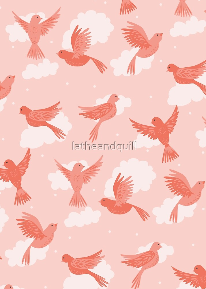 Pink Birds on a Rose Colored Sky by latheandquill