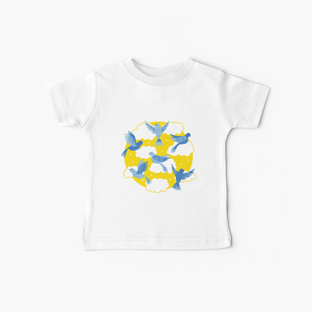 Blue Birds on a Sunny Yellow Sky Baby T-Shirt