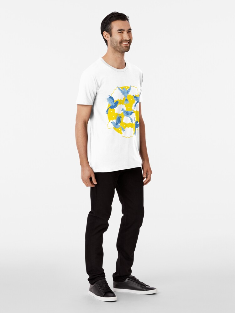 Alternate view of Blue Birds on a Sunny Yellow Sky Premium T-Shirt