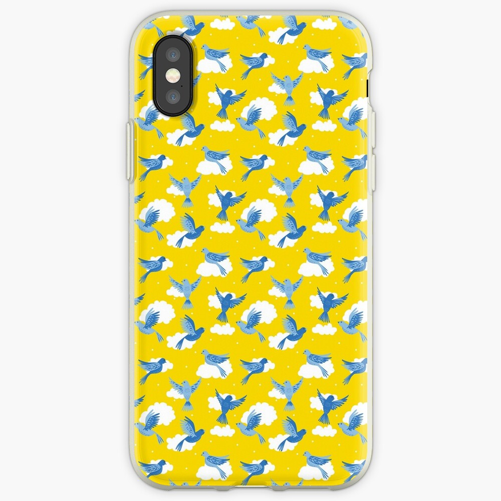 Blue Birds on a Sunny Yellow Sky iPhone Cases & Covers