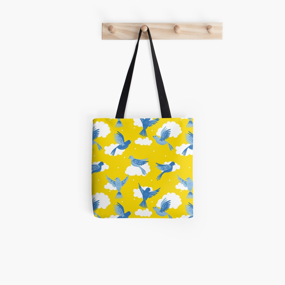 Blue Birds on a Sunny Yellow Sky Tote Bag