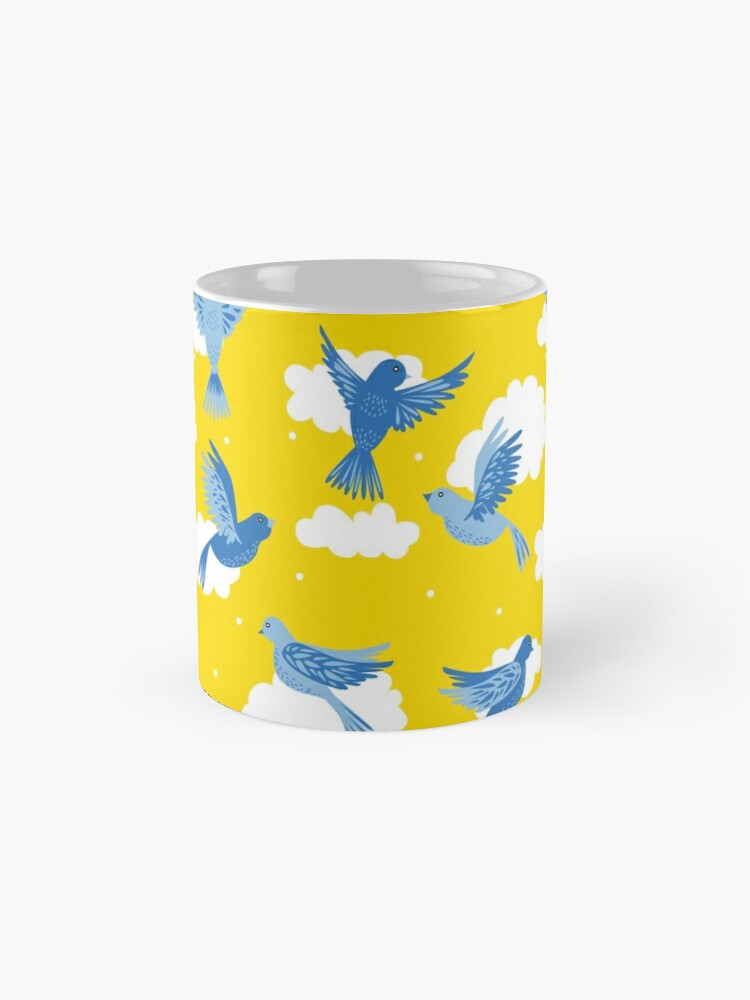 Alternate view of Blue Birds on a Sunny Yellow Sky Mugs