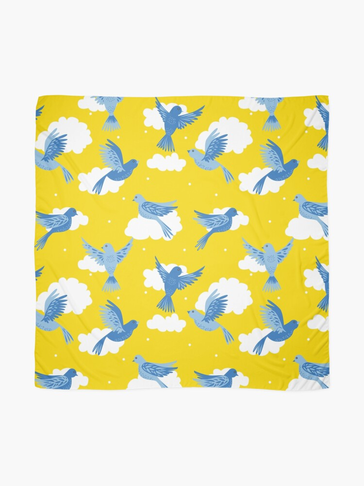 Alternate view of Blue Birds on a Sunny Yellow Sky Scarf