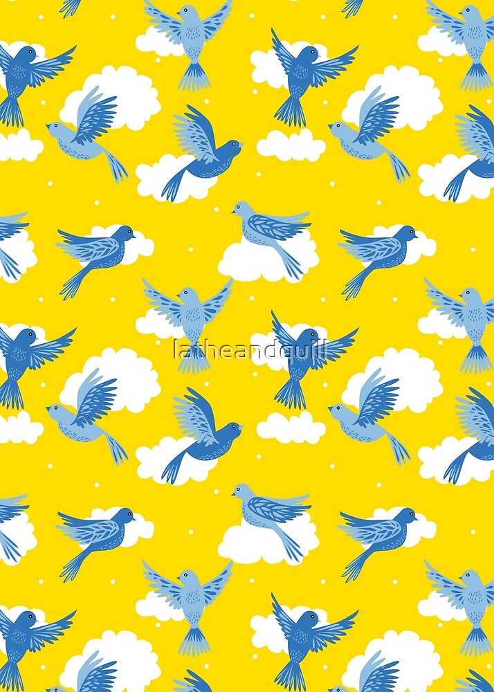Blue Birds on a Sunny Yellow Sky by latheandquill