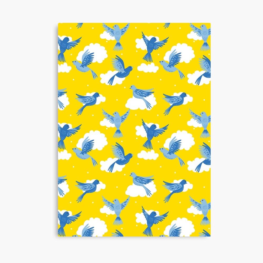 Blue Birds on a Sunny Yellow Sky Canvas Print