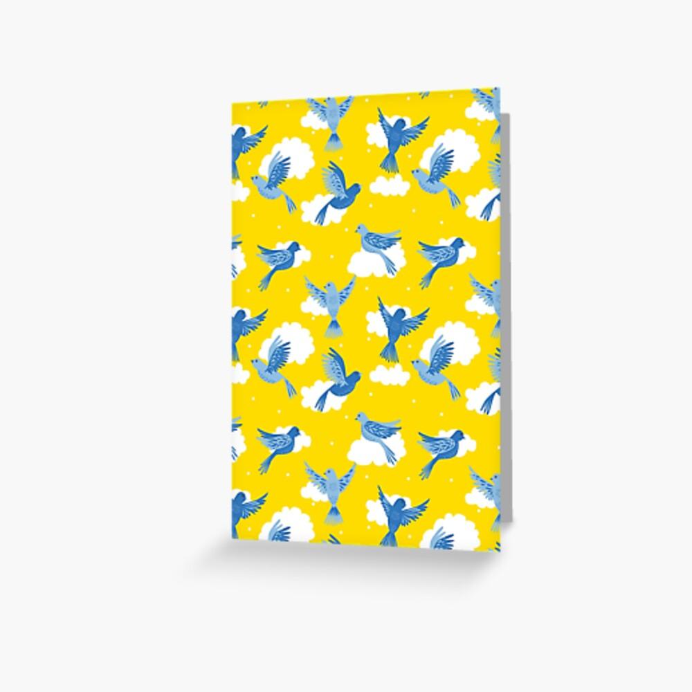 Blue Birds on a Sunny Yellow Sky Greeting Card