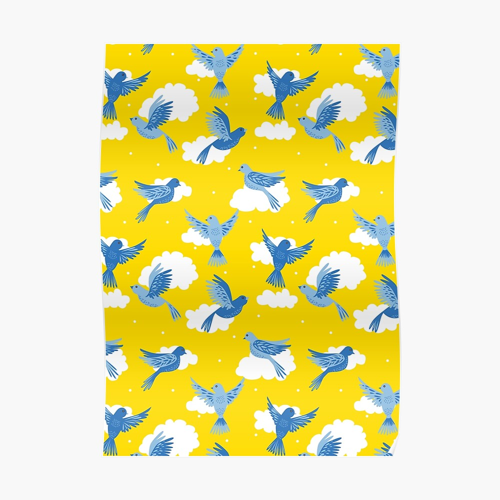 Blue Birds on a Sunny Yellow Sky Poster