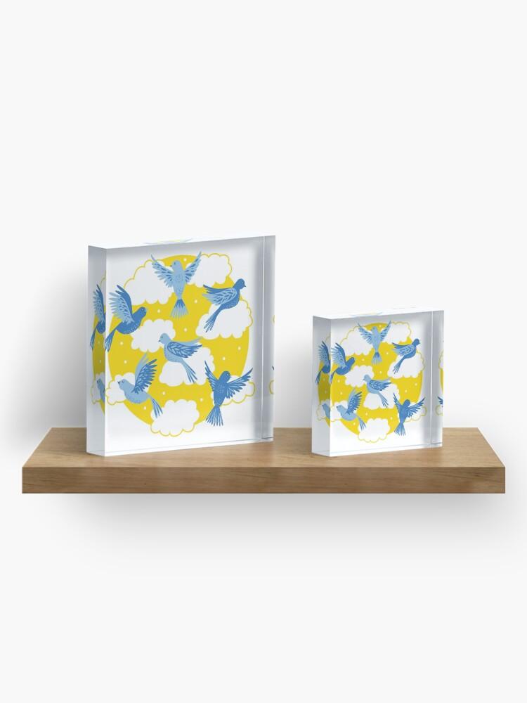 Alternate view of Blue Birds on a Sunny Yellow Sky Acrylic Block