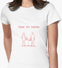 Man and woman with suitcases. Time to travel. Women's Fitted T-Shirt
