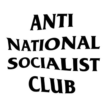 Anti Nazi Club Rectangle (White) by Graograman