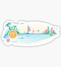 Snorkel and mask for diving icon on travel background.  Sticker
