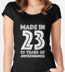 95th Birthday Gift Adult Age 95 Year Old Men Women Womens Fitted Scoop T Shirt