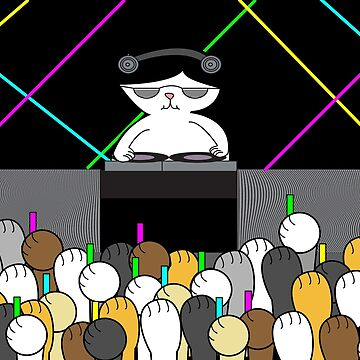 Black White Cat DJ Rave Dance Party Cat Paws by ValeriesGallery