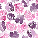 Pink and purple flower heads pattern by Foxeye Daisy