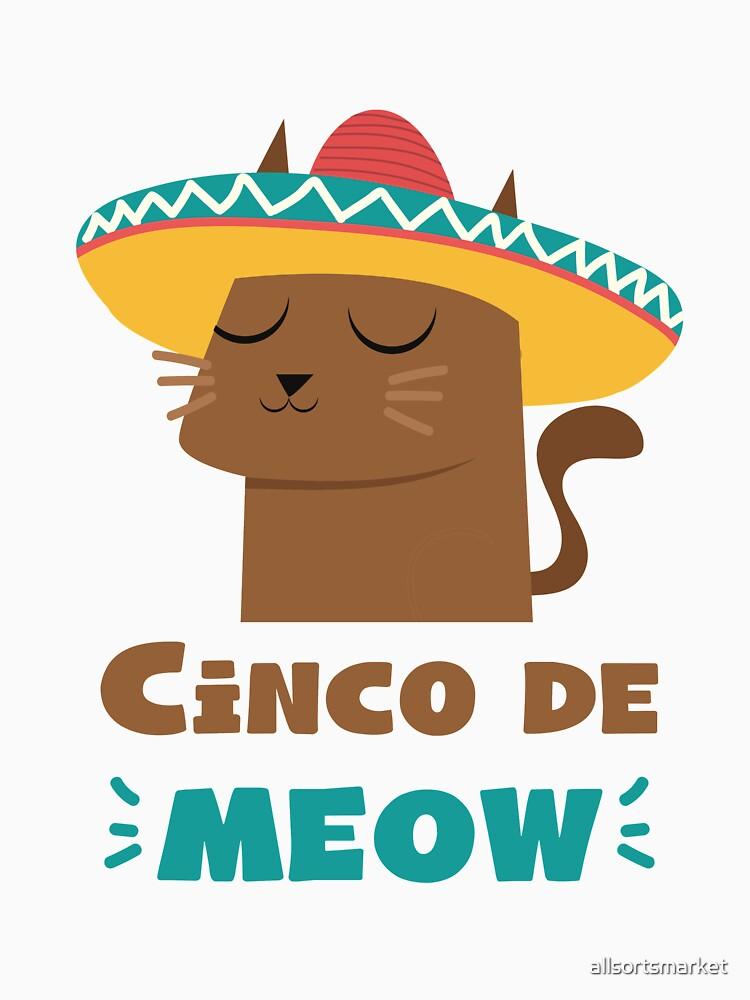Cinco De Meow Sombrero Cat Funny Cinco De Mayo Shirt by allsortsmarket