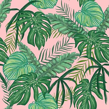 Pink Monstera Leaf Print by lizzyetc