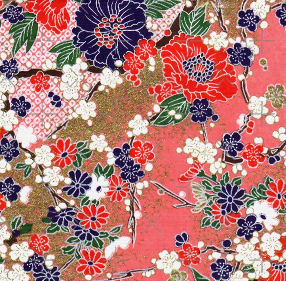 RED BLUE WHITE SPRING FLOWERS ,IN PINK AND GOLD Antique Japanese Floral by BulganLumini