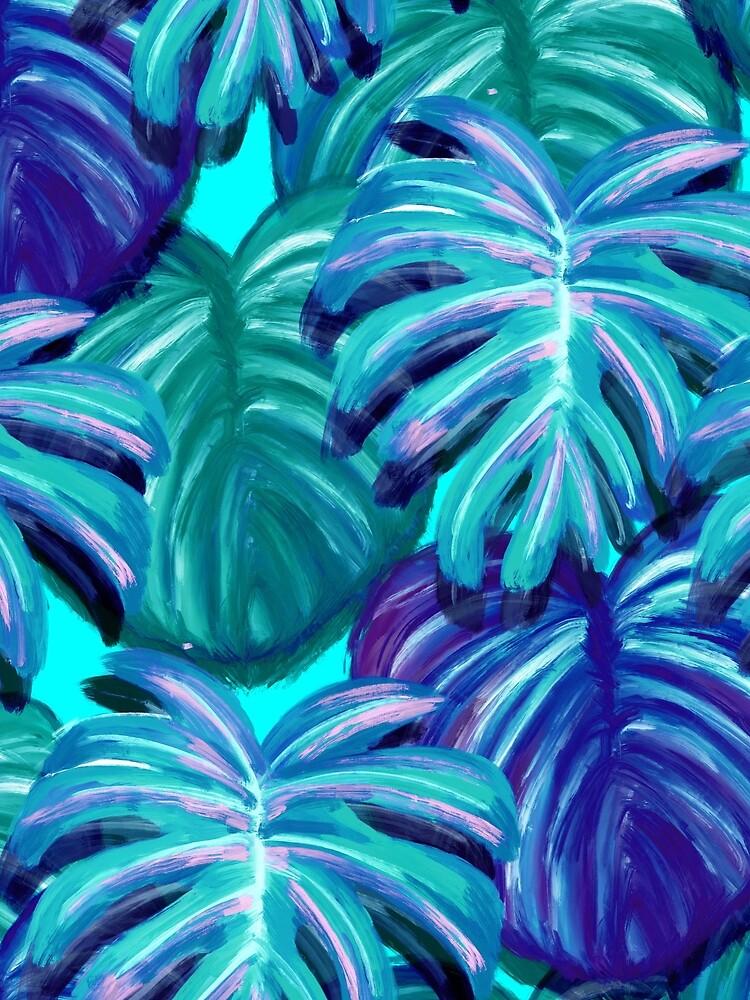 Blue Monstera Leaf Print by lizzyetc