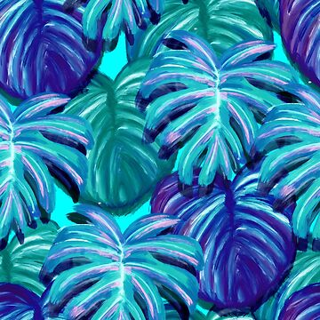 Blue Monstera Leaf Print by lizzyetc