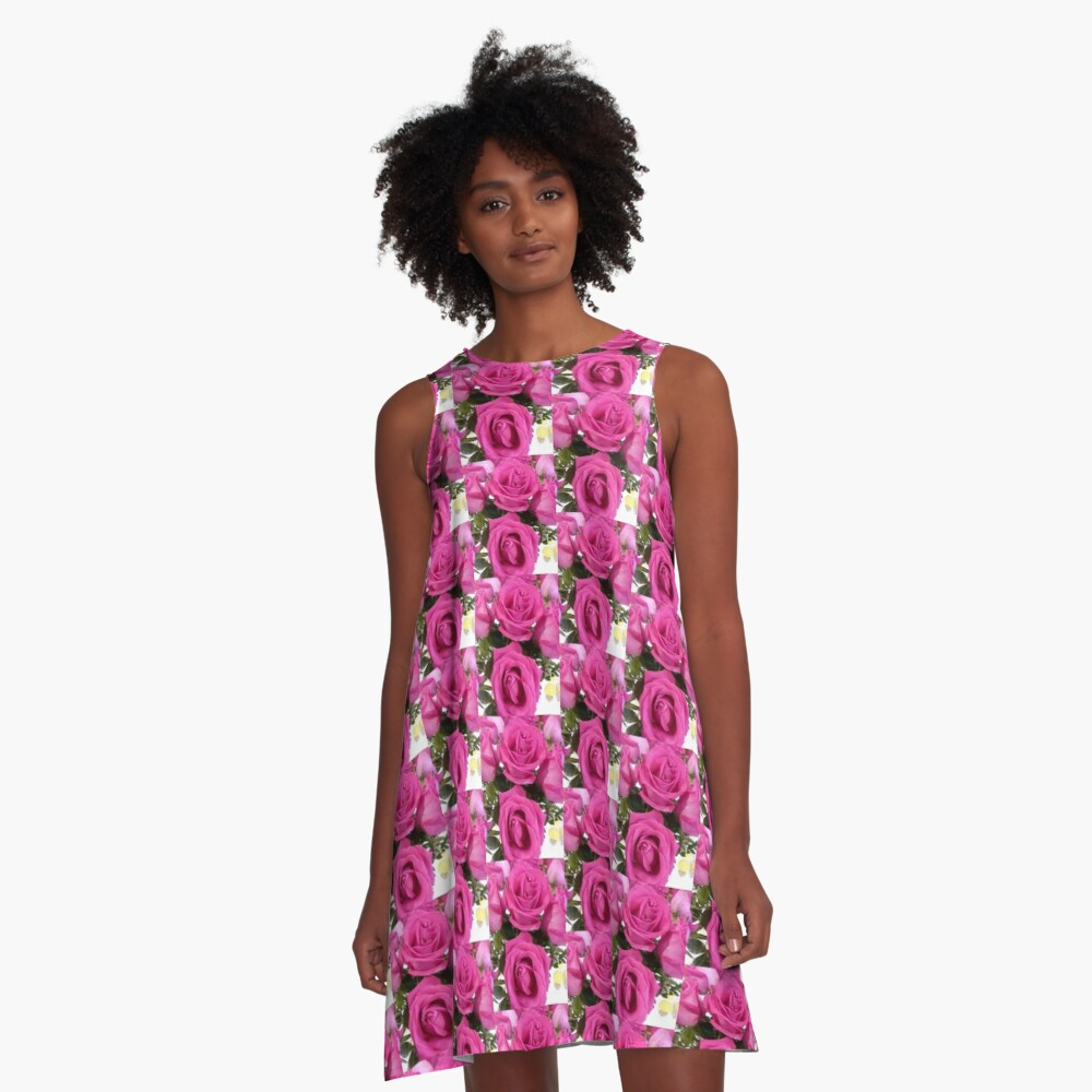 Hot Pink Roses A-Line Dress Front