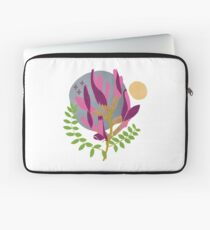 Modern Pink Flowers and Vines Laptop Sleeve