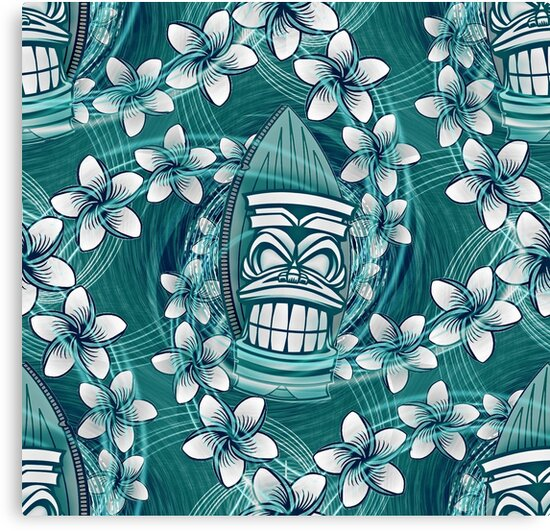 ★ HAWAIIAN TIKI in TEAL GREEN ★ Aloha Hawaii Hawaiian Print by Borderlines