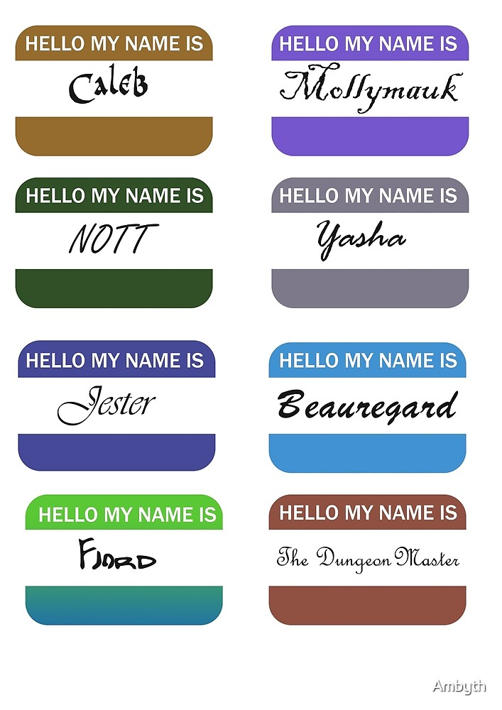 Critical Role Name Tags by Ambyth