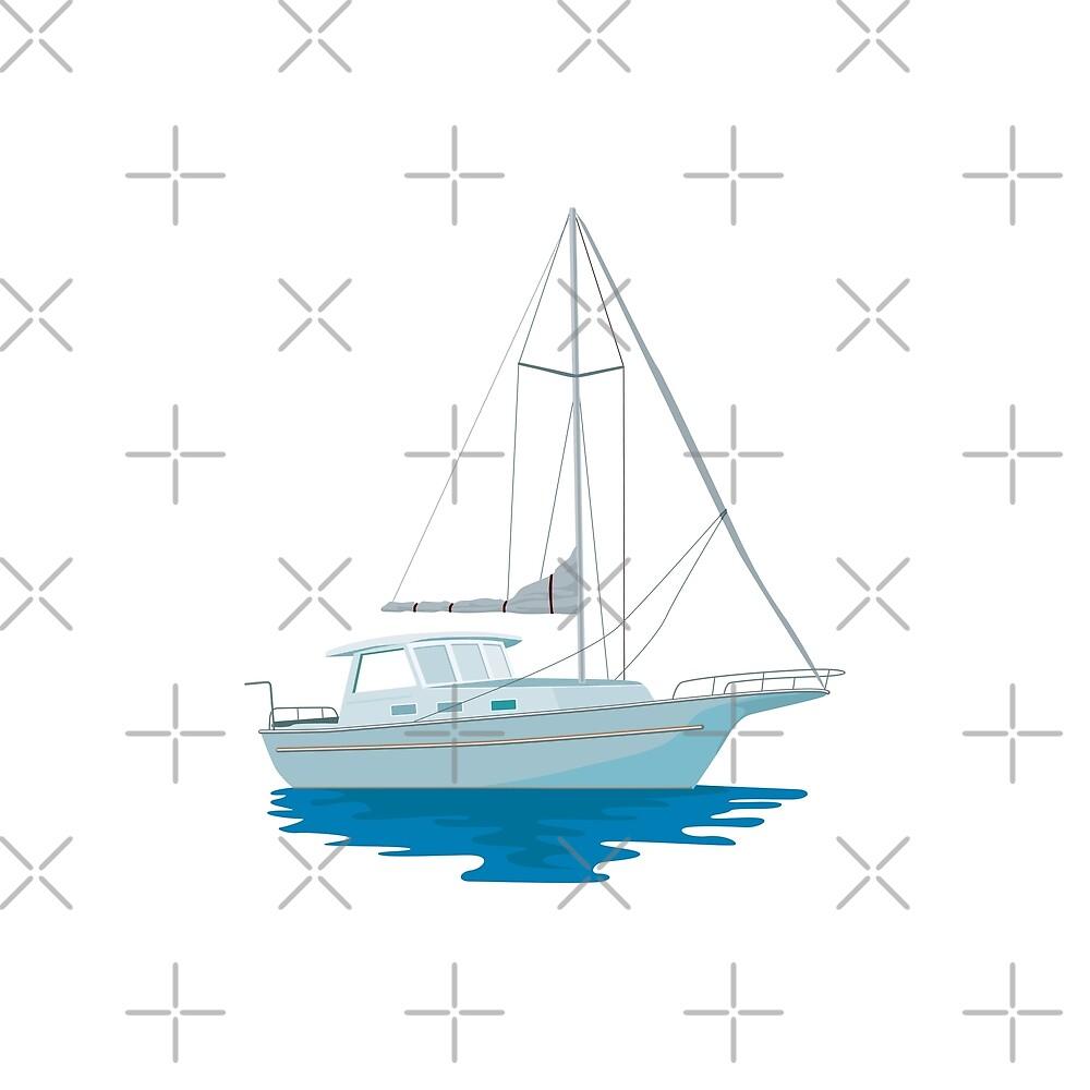 Sailboat or Sailing Boat Retro by retrovectors