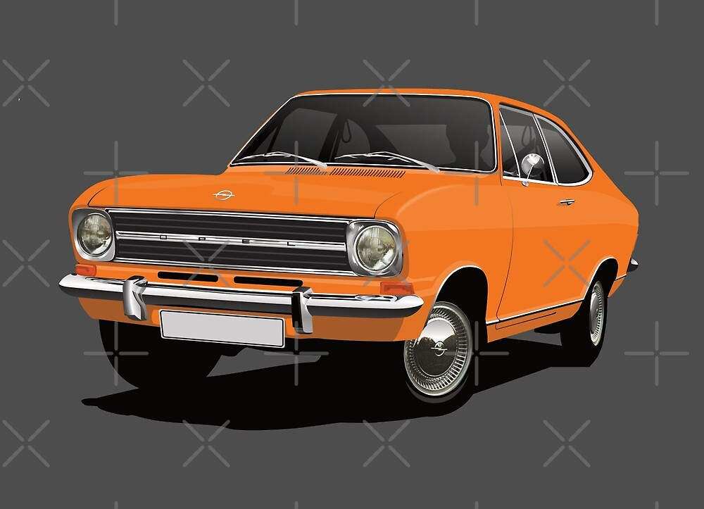 Orange Opel Kadett B Coupe - illustration by knappidesign