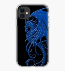 Flying Blue Tribal Dragon iPhone Case