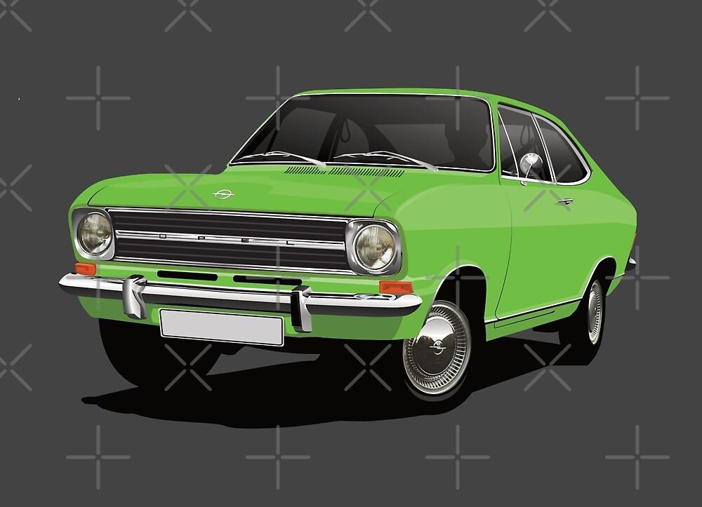 Green Opel Kadett B - illustration by knappidesign