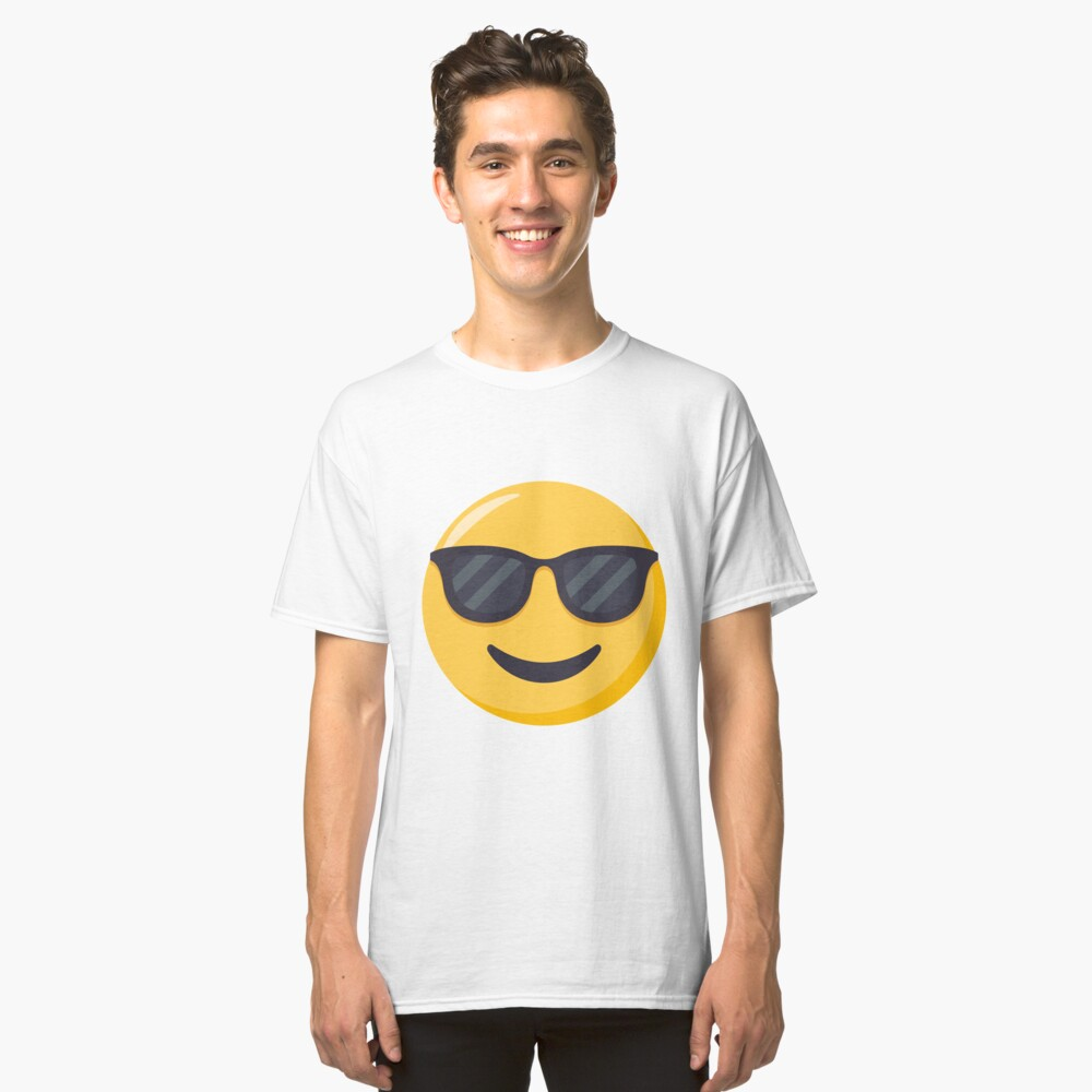 JoyPixels Smiling Face with Sunglasses Emoji Classic T-Shirt Front