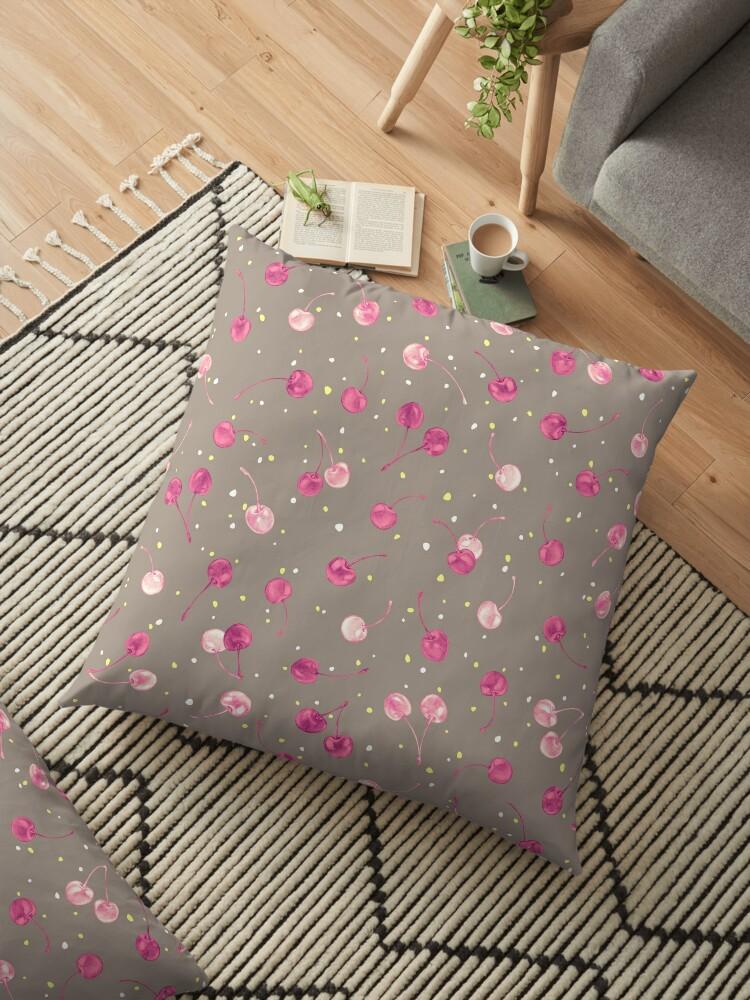 Pink Fuchsia Cherries Pattern Gray Background by FrauEinhorn