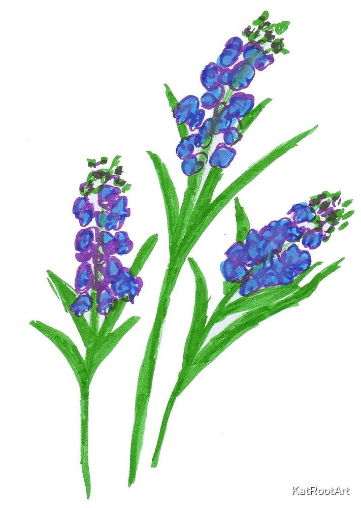 Three Purple Lavender Flowers by KatRootArt