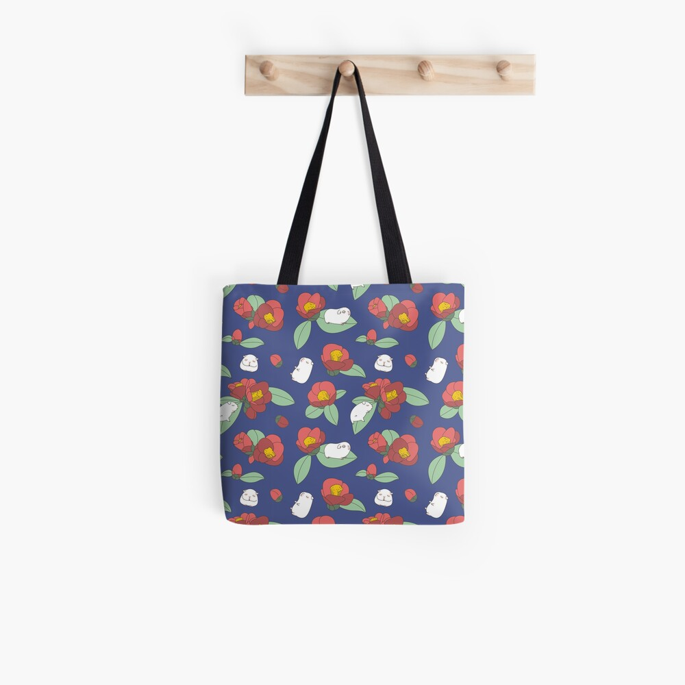 Japanese Camellia and Albino Guinea Pig Pattern  Tote Bag