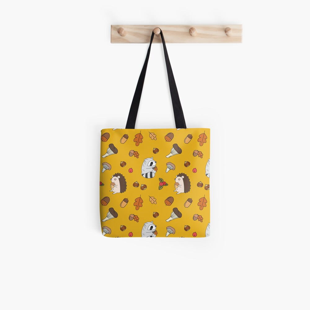 woodland animals pattern, hedgehog and raccoon pattern  Tote Bag