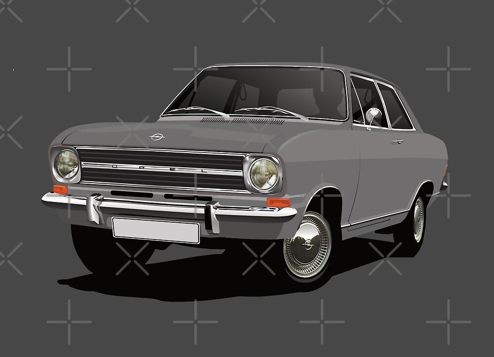 Gray Opel Kadett B Sedan - illustration by knappidesign