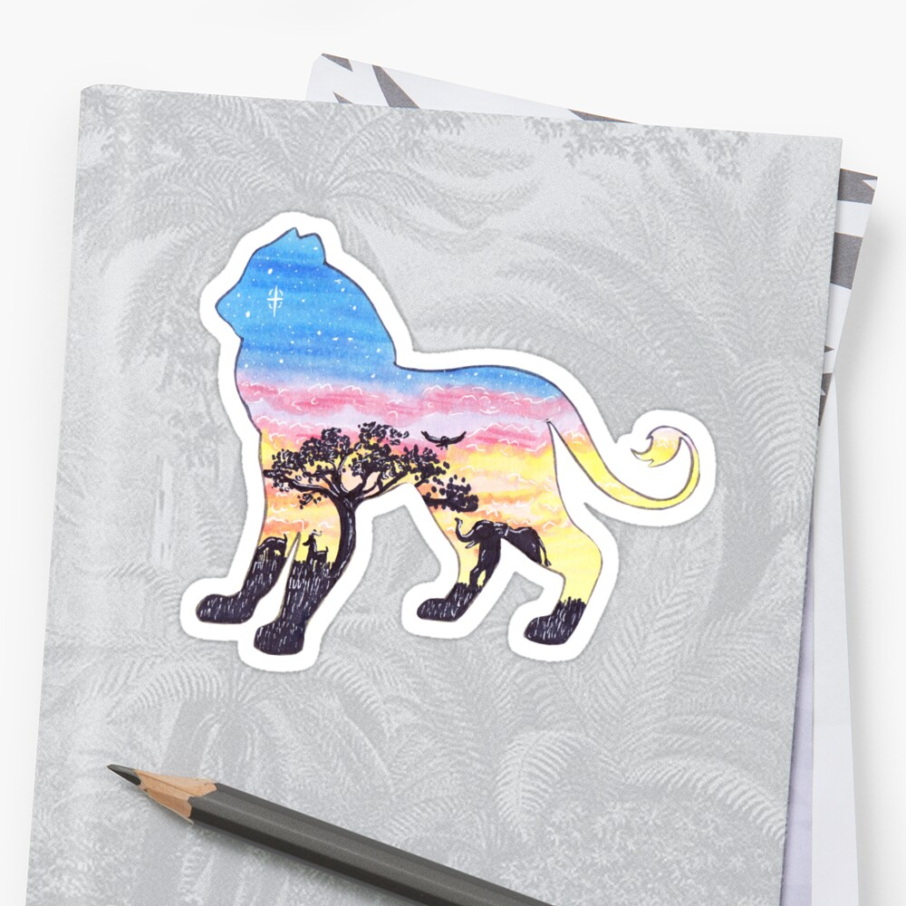 African Savanna Sunset Lion Sticker Front