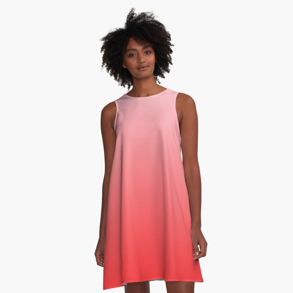 Ombre Coral Pink to Tomato Red A-Line Dress Front
