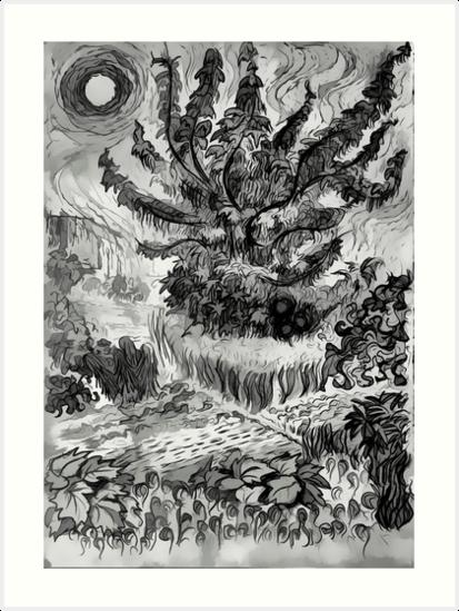 Summer Heat: Van Gogh Style Drawing by Oleg Atbashian