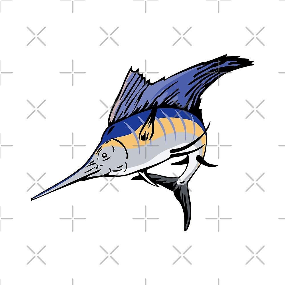 Billfish Jumping Side Retro by retrovectors