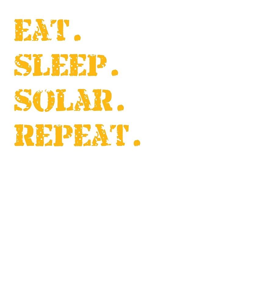 Orange Eat Sleep Solar Repeat Long Sleeve T-Shirt by Rainwater Merch