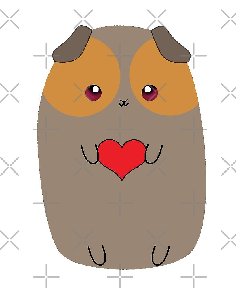Brown and Orange Cute Guinea Pig with Heart by xdeardarlingx