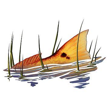 Tailing Redfish in Grass | Redfish Tail by blueshore