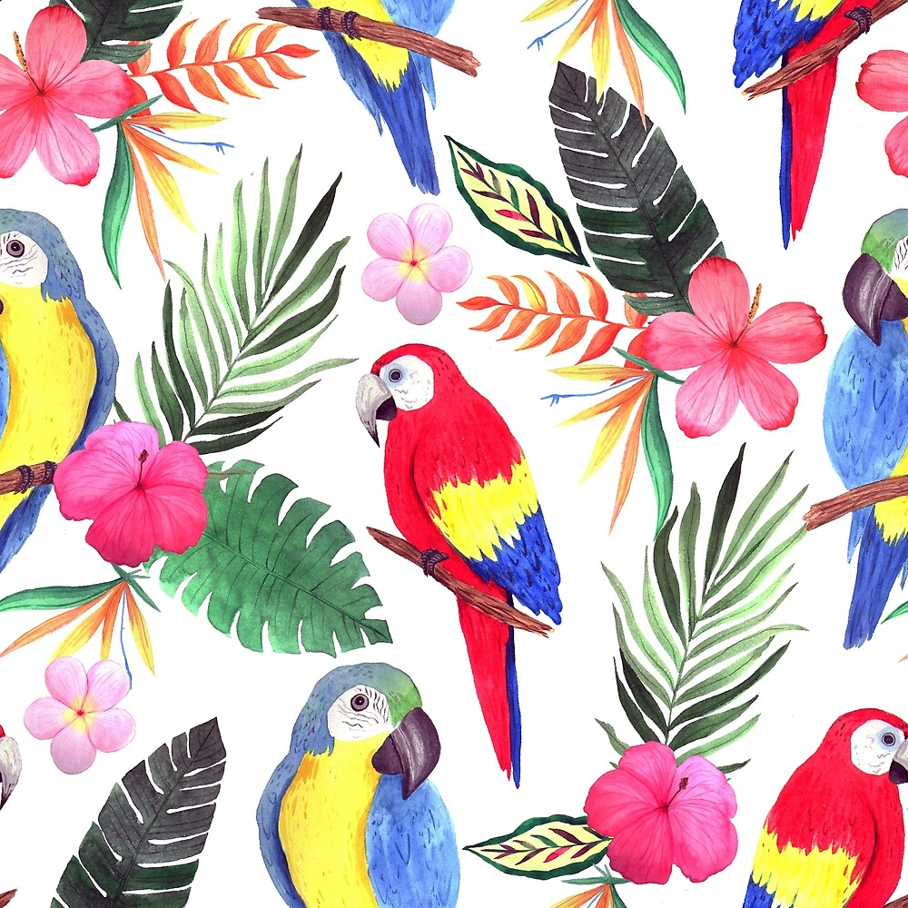 Parrots Tropical Vacation by Lynne Calvert